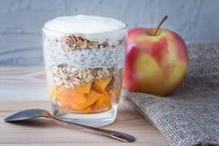 红色苹果和一chia的健康香草布丁在一块玻璃与granoly和芒果的 健康的食物 图库摄影