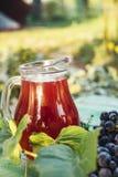 红酒玻璃水瓶与一束葡萄的 图库摄影