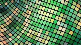 绿色正方形,菱形,长方形瓦片,与发光发光的不可思议的能量缝的马赛克多彩多姿的抽象背景  库存例证