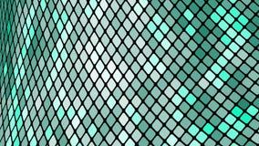 绿色正方形,菱形,长方形瓦片,与发光的不可思议的能量缝的马赛克多彩多姿的抽象背景  皇族释放例证