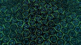 绿色色的被带领的微粒形状的动画 抽象VJ行动背景 3d翻译 4K,超HD决议 库存例证