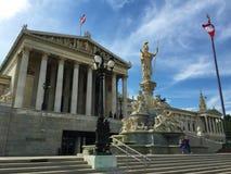 维也纳-其中一欧洲的被参观的市-议会,雕象pallas雅典娜,goddes 免版税库存照片