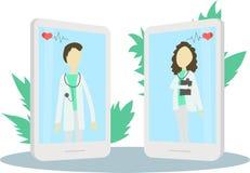 网上医生字符或耐心咨询对医生通过智能手机,可能为海报,横幅,飞行物,登陆的页使用, 向量例证