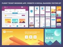 网上飞行售票应用程序onboarding的网站横幅或模板成套工具 向量例证