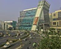 网络城市/Cyberhub建筑学在古尔冈,新德里,印度 库存图片