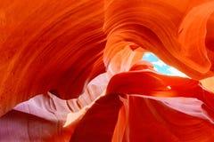 羚羊峡谷是在美国西南的一个槽孔峡谷 免版税库存照片