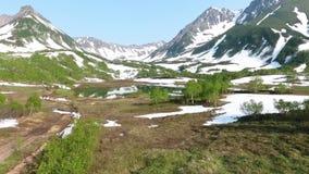 美丽的山空中flythrough和森林和湖 股票录像