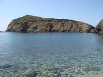 美丽的私有海滩在希腊 库存照片