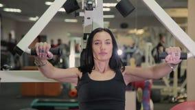 美丽的运动的深色的妇女订婚胸口和胳膊的肌肉的一台模拟器 生活方式概念 股票视频