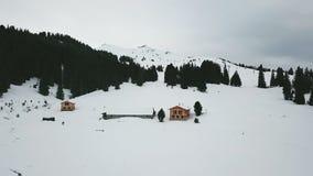 美好的在山的冬天空中飞行 在多雪的山的滑雪电缆车 缆索铁路 弗卢姆斯,瑞士 股票录像