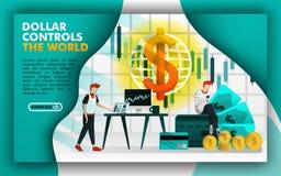 美元在有美元的互联网上控制世界,人们选择投资 可能使用为,登陆的页,模板,ui,网, 皇族释放例证