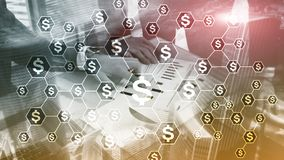 美元象,金钱网络结构 ICO、贸易和投资 Crowdfunding 免版税库存照片