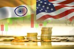 美国和印度贸易战经济出口美国 免版税图库摄影