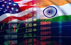美国和印度贸易战经济出口美国 库存图片
