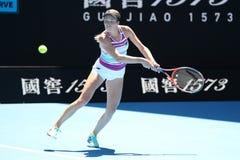 美国的职业网球球员达尼埃尔林斯行动的在她的在2019年澳网的半决赛期间 免版税图库摄影