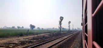 看在印度铁路特级列车的窗口外面以绿色农场土地为目的 库存图片