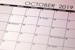 犹太人的赎罪日在 10月2019日历的选择聚焦 被定调子的图象 免版税库存照片