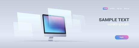 现代桌面显示器工作站空白计算机显示器数字技术概念灰色背景水平的横幅 向量例证