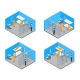 现代监狱内部有家具和人等轴测图 向量 向量例证