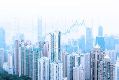 现代都市地平线 全球性通信和网络 大图形市场计算股票 向量例证