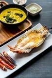 烤巨型河虾 库存图片