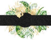 热带水彩在白色背景留下横幅 异乎寻常的花卉设计 象查找的画笔活性炭被画的现有量例证以图例解释者做柔和的淡色彩对传统 库存例证
