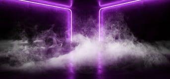 烟科学幻想小说蓝色紫外紫色桃红色未来派计算机国际庞克发光的减速火箭的现代充满活力的光激光展示空的阶段室 向量例证