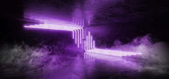 烟科学幻想小说蓝色紫外紫色桃红色未来派计算机国际庞克发光的减速火箭的现代充满活力的光激光展示空的阶段室 库存例证