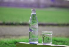 瓶和玻璃与淡水在草背景 免版税库存图片