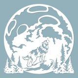 狼嗥叫在月亮 也corel凹道例证向量 纸狼贴纸 激光裁减 激光切口和绘图员的模板 向量 皇族释放例证