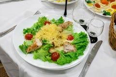 盘在餐馆 绿色盐、土豆和肉 免版税库存图片