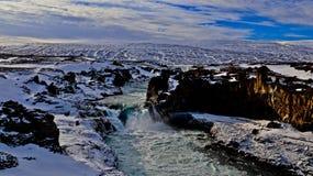 瀑布在冰岛,自然的图片 免版税库存图片
