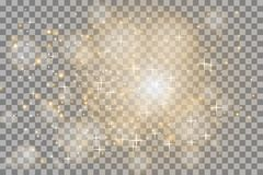 白色发光轻在透明背景爆炸 闪耀的不可思议的微尘 明亮的星形 向量例证