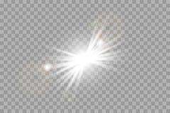 白色发光轻在透明背景爆炸 闪耀的不可思议的微尘 明亮的星形 库存例证