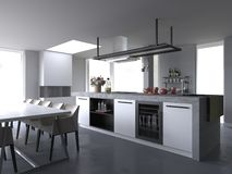 白色现代豪华厨房内部,不用背景 向量例证