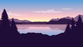 由湖的驯鹿日出野生生物自然风景的 库存例证