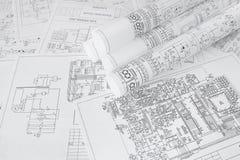 电机工程图画打印 科学发展 库存照片