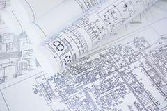 电机工程图画打印 科学发展 免版税库存照片