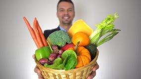 画象商人新鲜的有机果子健康自然菜篮子 股票录像