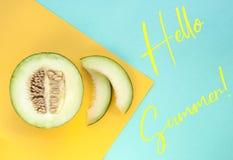 甜瓜瓜切片和一半瓜 库存照片