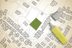 疆土虚构的地籍图有自由绿色土地的可利用为楼房建筑-概念图象 图库摄影