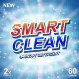 聪明的干净的肥皂横幅广告设计 洗涤剂新干净的模板 洗衣粉或液体洗涤剂包裹 库存例证