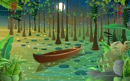 萤火虫和小船在沼泽 向量例证