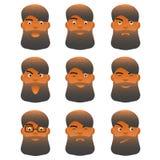 表情设置了年轻动画片有胡子的人,具体化的另外面部字符男性 库存例证
