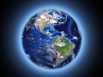 行星地球在空间3d发光 皇族释放例证