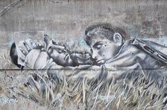 街道画在一个混凝土墙上的街道艺术在特维尔州,俄罗斯 免版税库存照片