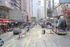 街道视图在香港,2019年2月 免版税图库摄影