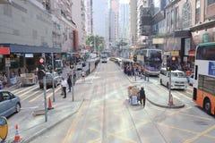 街道视图在香港,2019年2月 库存图片