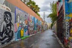 街道艺术和壁画在旧金山的使命区 库存照片