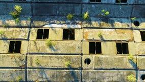 被放弃的建筑具体屋顶鸟瞰图  影视素材